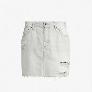 Allsaints Betty grey wash distressed denim skirt